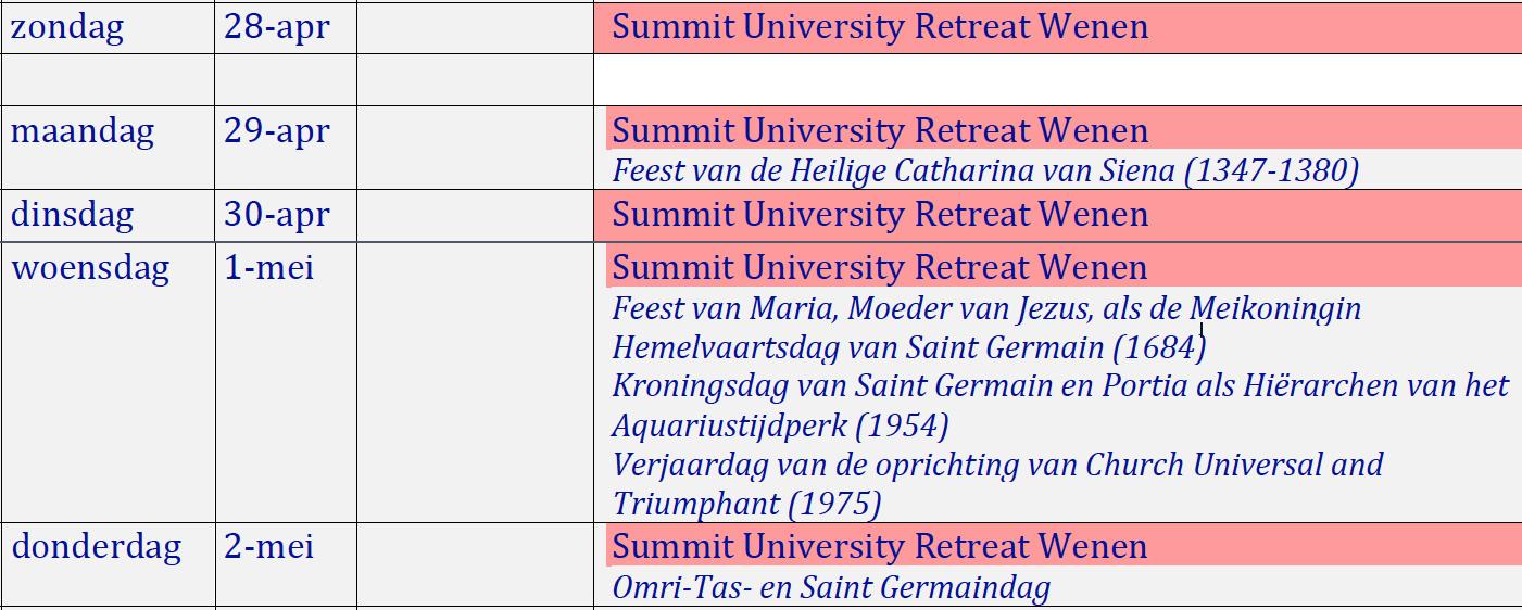 Programma SU Wenen 2019