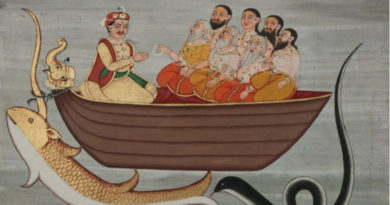 Manu with Seven Rishis in a boat